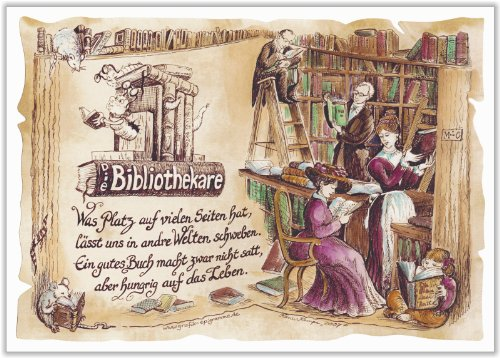 Geschenk Bibliothekare Bibliothekar Buchhändler Zeichnung Color 30 x 21 cm