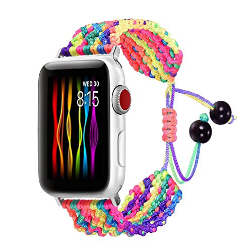 Bandmax Compatible for Rainbow LGBT Apple Watch Band 42MM 44MM Braided Nylon Friendship Rope iwatch Series 5/4/3/2/1 Replacement Wristband Straps Accessories Weave Bohemia Bracelet Drawstring Clasp