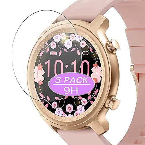 VacFun 3 Piezas Vidrio Templado Protector de Pantalla, compatible con Efolen Q1 Q10 smart watch smartwatch, 9H Cristal Screen Protector Protectora (Not Funda Carcasa)