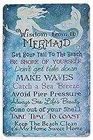 人魚からの知恵は、ビーチクリーン、金属ブリキサイン、ビンテージプラークポスターホーム壁装飾を保つ