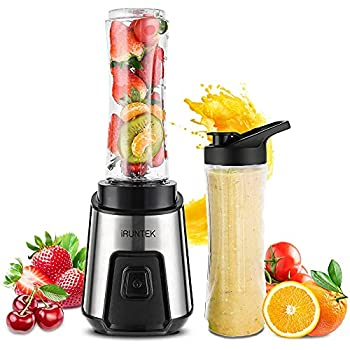 iRUNTEK Personal Blender for Shakes and Smoothies Small Countertop Blender for Kitchen Food Processer for juice jam milkshake with 250 -Watt Stainless Steel Base and 20-Ounce BPA Free Tritan Cup