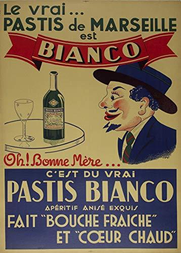 Vintage bieren, wijnen en sterke drank 'Pastis de Marseille', Frankrijk, 1920, 250gsm Zacht-Satijn Laagglans Reproductie A3 Poster