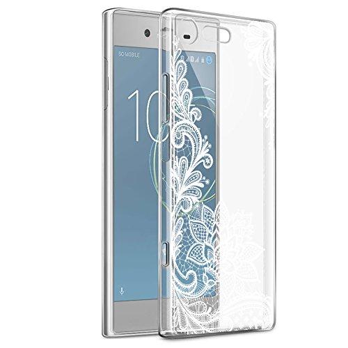 Eouine Funda Sony Xperia XZ1 Compact, Cárcasa Ultrafina Silicona 3D Transparente con Dibujos [Antigolpes] Gel TPU Protector Bumper Case Cover Fundas para Movil Sony Xperia XZ1 Compact (Flor Blanca)
