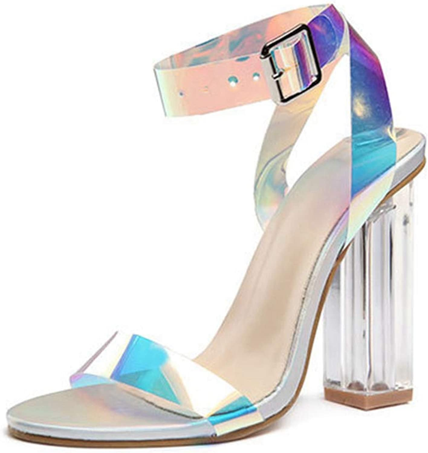 Summer Sandals Women Square High Heel Ladies Party Casual shoes Brilliant shoes Crystal Open Toe Sandal