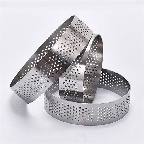 French Circular Etched Tower Ring Mold Food Grade 304 Stainless Steel Tower Ring Breathable Cake Cake Ring,ZhongXianShangMaoYouXianGongSi (Size : 8CM round pylon ring)