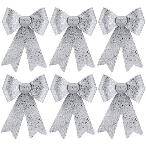 URATOT 6 Pack Glitter Christmas Wreaths Bows Xmas Tree Decoration Bows PVC Christmas Crafts Bows for Christmas Indoor and Outdoor Ornaments, 9 x 12 Inches