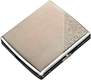 JTYX Stainless Steel Cigarette Case Ultra Thin Portable Automatic Flip Cover can Accommodate 20