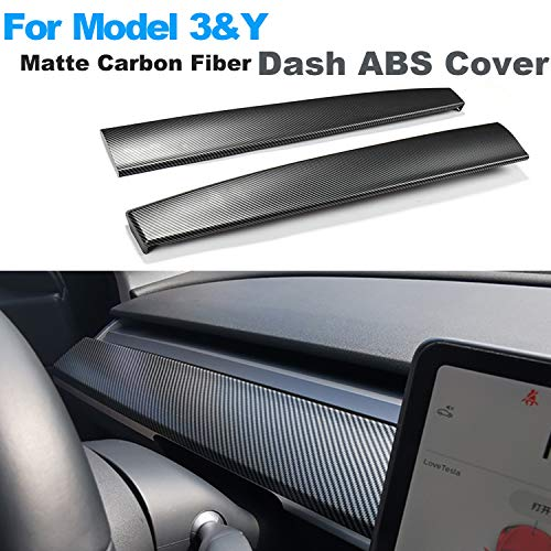 Topfit Model 3 and Model Y Dash ABS Matte Carbon Fiber Cap Covers Dashboard Sticker for Tesla Model 3&Y Wrap Accessories (M3/Y Dash)