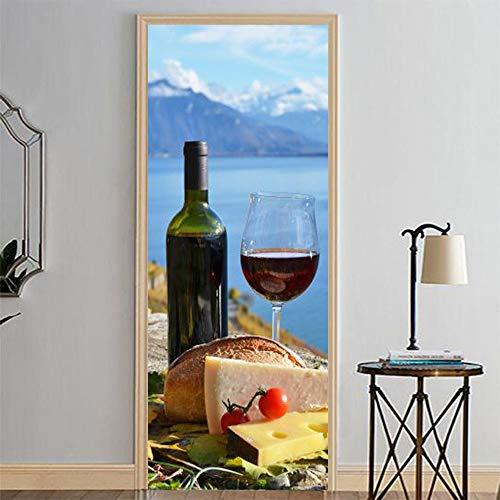 Vino y comida junto al lago,Etiqueta engomada del mural de la puerta del arte moderno 3D vinilo desprendible y pegajoso extraíble (77x200cm) etiqueta engomada de la puerta de la decoración del hogar