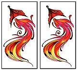 Mini Tattoos 2 Sheets Red Fox Feather Temporary Tattoos Waterproof Cartoon Sticker for Man Women Teens Girls Water Transfer Tattoo Sexy Body Arm Painting Fake Designs Tatoos Fashionable (04)