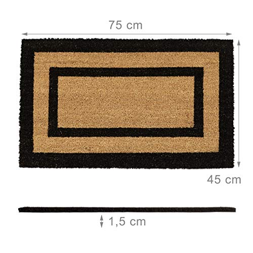 Relaxdays – Felpudo Extra Grande para la Entrada del hogar, 1.5 x 75 x 45 cm, Fibra de Coco y PVC, Antideslizante, Color Natural