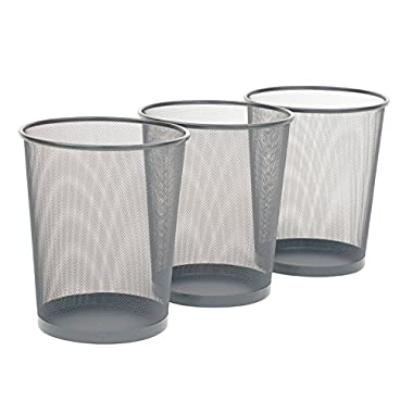 Seville Classics 3-Pack Round Mesh Wastebasket Recycling Bin, 6 Gal, 12  Diameter Top x 14  H, Silver