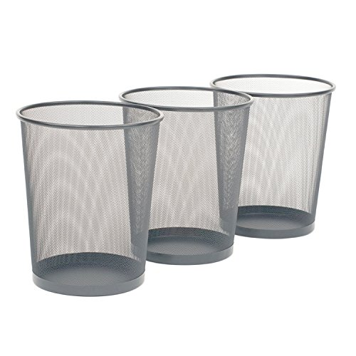 Seville Classics 3-Pack Round Mesh Wastebasket Recycling Bin, 6 Gal, 12