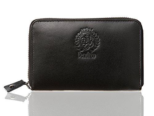 OPTEXX echt leer mini portemonnee dames met RFID-bescherming TÜV getest & gecertificeerd Bendito Mimi zwart Nappa portemonnee clutch met RFID-blokker