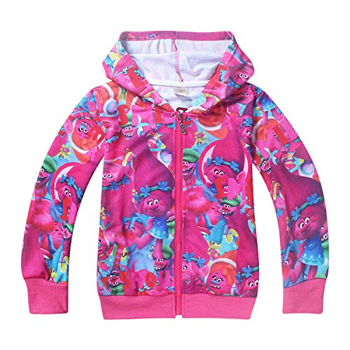 PCLOUD Girls Zip Hoodie Trolls Sweatshirt Children Coat Cartoon Jacket Outwear Rose