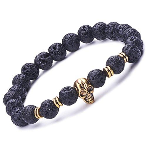 Infinito U- Pulsera Unisex con Diseño de Calavera Dorado con Perlas de 9 mm de Piedra de Lava Uniones de Aleación Elástica para Terapia Yoga Meditación Color Negro