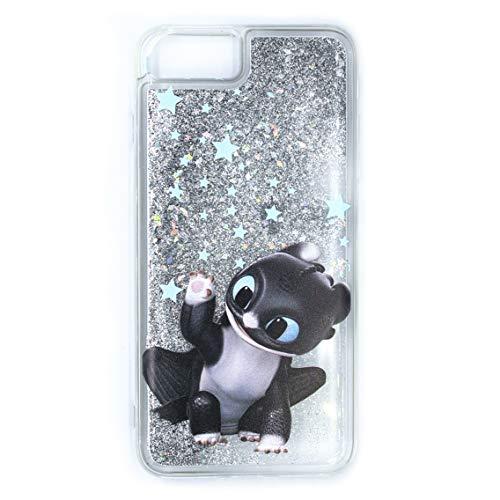 ERT DWPCDRAGON8126 - Custodia per iPhone 6+, 6S, 7+, 8+, glitter liquido, colore: Trasparente/Argento