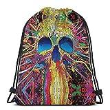 XCNGG Bolsa de Gimnasia Bolsa con cordón Bolsa de Viaje Bolsa de Deporte Mochila Escolar MochilaAbstract Colorful Skull Art Print Drawstring Bags Gym...