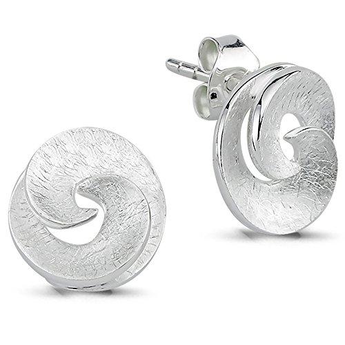 Vinani Ohrstecker Spirale klein rund offen verspielt gebürstet Sterling Silber 925 Ohrringe 2OSP