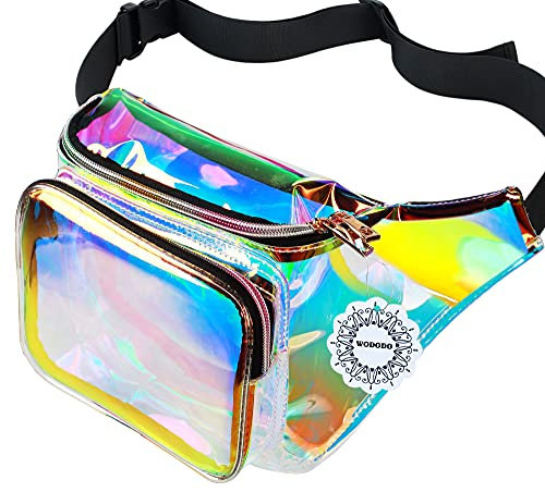 Water Resistant Shiny Neon Fanny Bag for Women Rave Festival Hologram Bum Travel Waist Pack, Transparant Gold and Pink