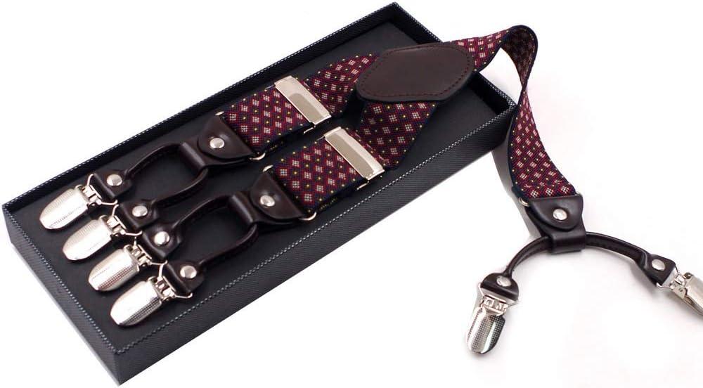 ZYDP Men's Wedding Trousers Strap, 6 Clip Mens Suspenders Adjustable Y-Back Heavy Duty Clip Suspenders (Color : Red Grid)