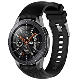 MOTONG for Galaxy Watch 46mm Straight Stripe Replacement Band - 22mm Silicone Replacement Wrist Band Strap for Samsung Galaxy Watch 46mm/ SM-R380/ SM-R381/ SM-382/ LG W100 W110 W150(Black)