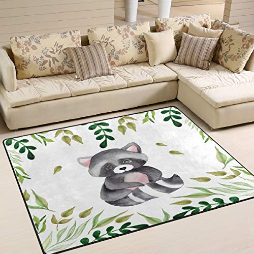 Use7 Teppich, Waschbär mit grünen Blättern, Aquarell, für Wohnzimmer, Schlafzimmer, Textil, Multi, 203cm x 147.3cm(7 x 5 feet)