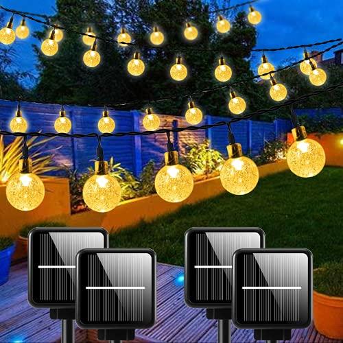 4-Pack 240 LED 132FT Outdoor Solar String Lights Crystal...