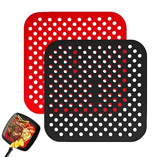 Papel Redondo Horno,2Pcs Alfombrillas de Silicona Reutilizables Air Fryer Liner, Papel Redondo Freidora, Antiadherentes (Cuadrado, 8.5 inch)