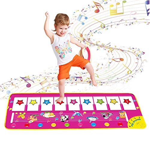 Piano Musical Mat for Kids, Piano Dance Mat Toddlers Early Education Musical Toys for 1-3 Year Old Baby Boys Girls Birthday Christmas Xmas Gifts for 1 2 3 Year Old Girls Boys Gifts Age 1-3 Pink