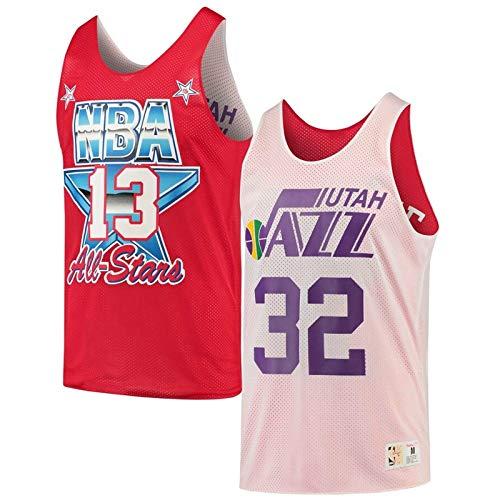 Mitchell & Ness Utah Jazz Karl Malone Número 32 Reversible NBA Baloncesto All Star Jersey, color rojo / blanco, tamaño extra-small