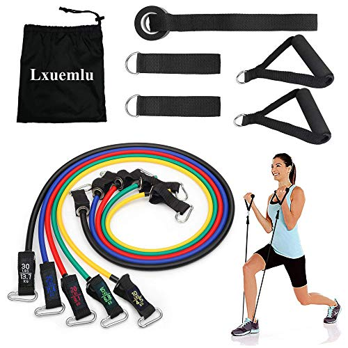 【2020 Upgraded】 Resistance Bands Set with Handles, Door Anchor, Ankle Straps and Workout Guide - Lxuemlu Exercise Bands for Men Women Resistance Training, Home Workouts