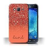 Stuff4 Personnalisé Coque pour Samsung Galaxy J5/J500 Effet Paillettes Coutume Rouge Désign...