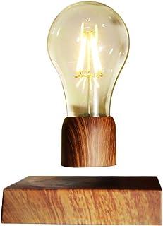 YSISLY Levitating Magnetic LED Light Bulb with Walnut Wood Base, Wireless Floating Magic Desk Lamp, Energy Efficient Ediso...