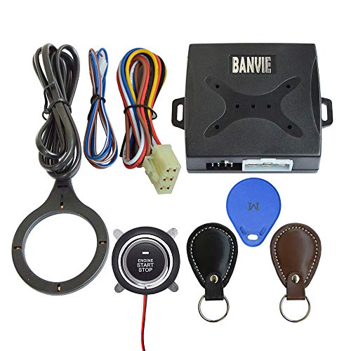 BANVIE Leather Key Car RFID Push to Start Ignition kit Engine Start Stop Button Switch Keyless Go System