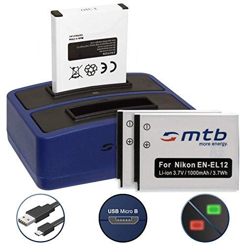 3 Baterías + Cargador Doble (USB) para Nikon KeyMission 170, 360 / Coolpix A900, AW130, P340, S31, S610c, S8200, S9900 - Ver Lista - Contiene Cable Micro USB