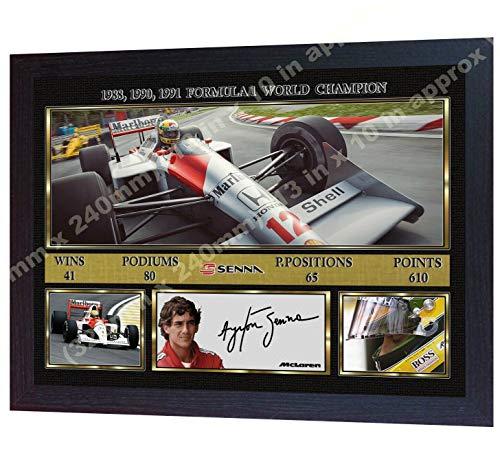 SGH SERVICES Gerahmtes Poster Ayrton Senna Formula1 F1 McLaren Honda mit Autogramm Foto Vordruck F1 gerahmter MDF-Rahmen #7