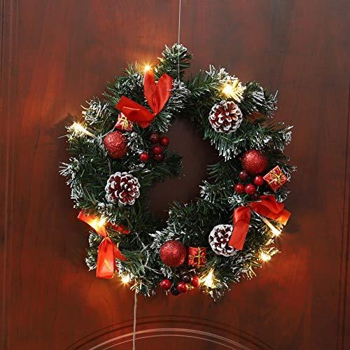 Lucoss 40cm Künstliche Kranz Weihnachten Deko mit LED Beleuchtung Vordertür hängen Garland Holiday Weihnachts Home Dekorationen