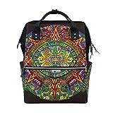 LINDATOP - Bolsa de pañales con diseño de calendario maya y bolsa de lactancia multifunción, elegante y duradera