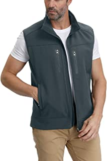 Men's Windproof Fleece Lined Jacket Sleeveless Full Zippered Softshell Vest