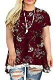 Plus Size Top for Women 4X Summer T Shirts Floral Lace Tunics G 28W