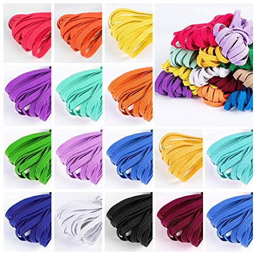 Color Elastic Bands for Sewing 1/4 Inch 16 Rolls Braided Elastic Band Mask Rope Elastic Cord Heavy Stretch Elastic Rope for Sewing Crafting High Elasticity Knit Spool for Adult Craft DIY