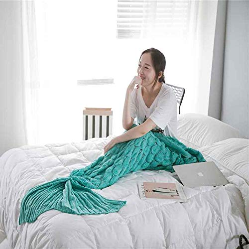 XILIUHU Mermaid Decke Plaid aus Gewirken Plaids Bed Cover Mermaid's Schwanz Decke Stricken Häkeln Schlafsack warm, Hellgrün, 90 x 195 cm