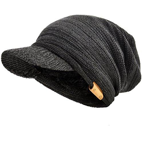 VECRY Men's Oversize Slouch Beanie Slouchy Skullcap Large Baggy Hat (Visor-Dgrey)