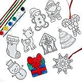20 Piezas Kit Atrapasol de Navidad| 10 Atrapasol para Pintar y Decorar, 9 Pinturas, 1 Pincel| Manualidades, Actividad Creativa, Decoración Ventana, Relleno Calcetines Navidad, Regalos para Niños.