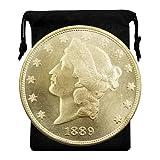 Kocreat Copy 1889-CC Flowing Hair Silver Dollar Liberty Morgan Gold Coin Twenty Dollars-Replica USA Souvenir Coin Collection