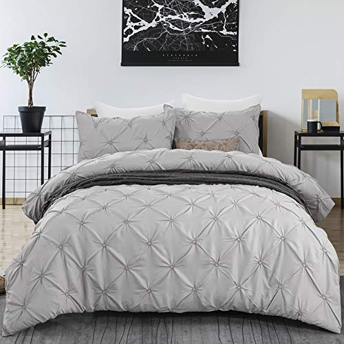 Luxury Pintuck Duvet Cover King 3 Pieces Pinch Pleat Bedding Duvet Cover with Zipper Clsoure, Soft Microfiber Pintuck Bedding King Size 220x230cm
