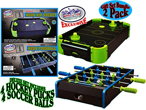 Matty's Toy Stop Deluxe Wooden Mini Tabletop NEON Air Hockey (Extra Pucks) & NEON Foosball (Soccer) (Extra Balls) Games Gift Set Bundle - 2...