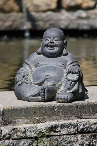 Figur Lachender Buddha sitzend – für Haus und Garten – Höhe 24 cm – schwarz - 4