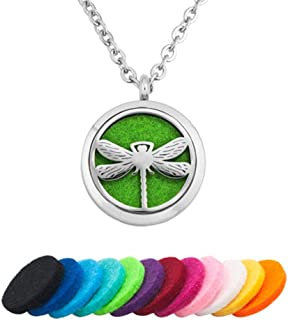 Infinite Memories Lucky Clover Dragonfly Sunflower Maple Leaf Aromatherapy Essential Oil Diffuser Necklace Perfume Locket Pendant